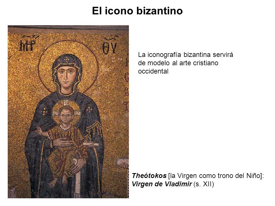 El icono bizantinoLa iconografía bizantina servirá de modelo al arte cristiano occidental. Theótokos [la Virgen como trono del Niño]: